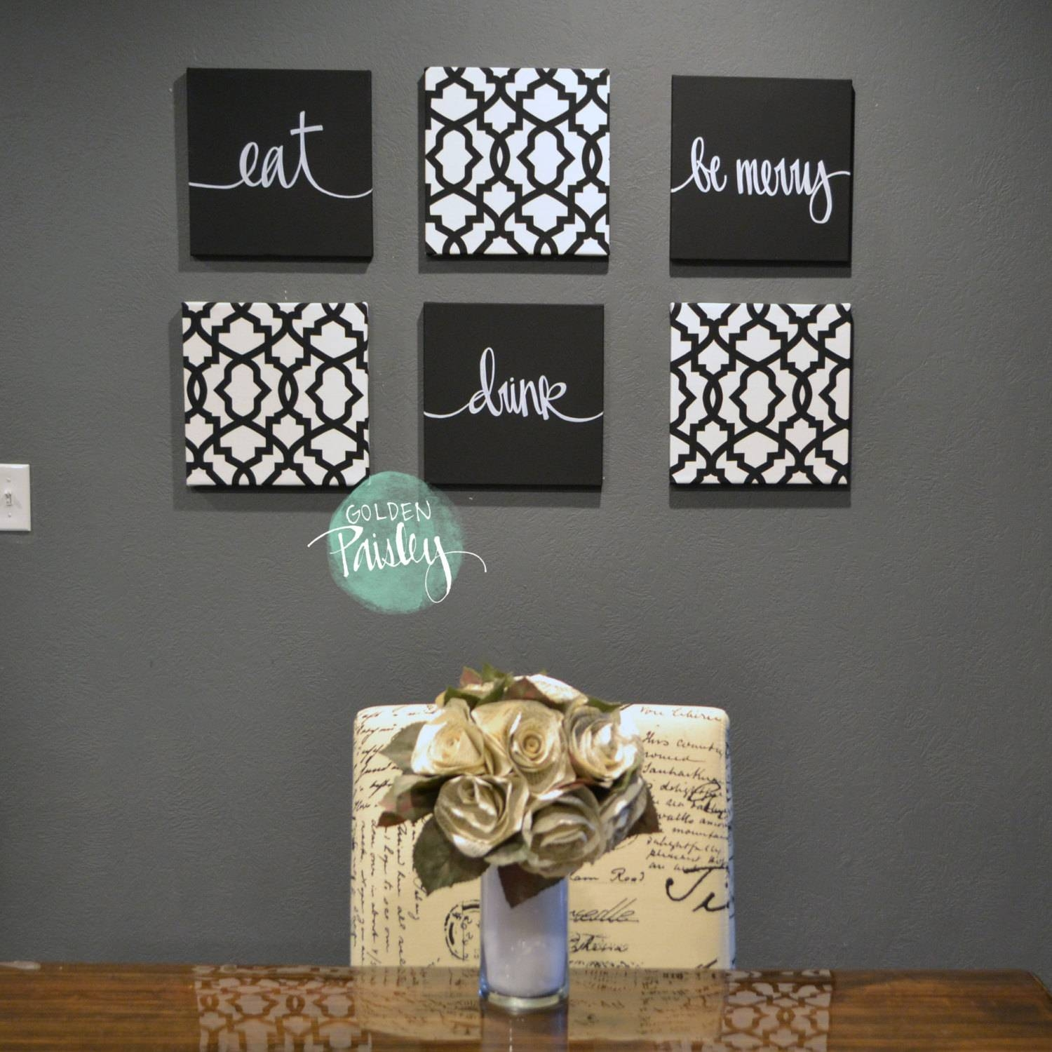 Black White Eat Drink & Be Merry Wall Art 6 Pack Canvas Wall Intended For Current Black And White Wall Art Sets (View 6 of 20)