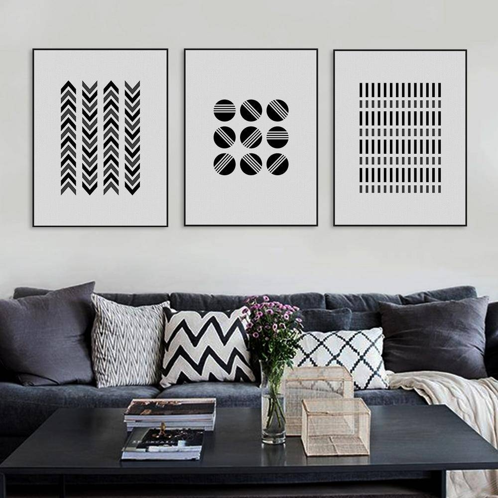 Black White Modern Abstract Geometric Shape Canvas Large Print Intended For Most Recently Released Large Black And White Wall Art (View 7 of 20)
