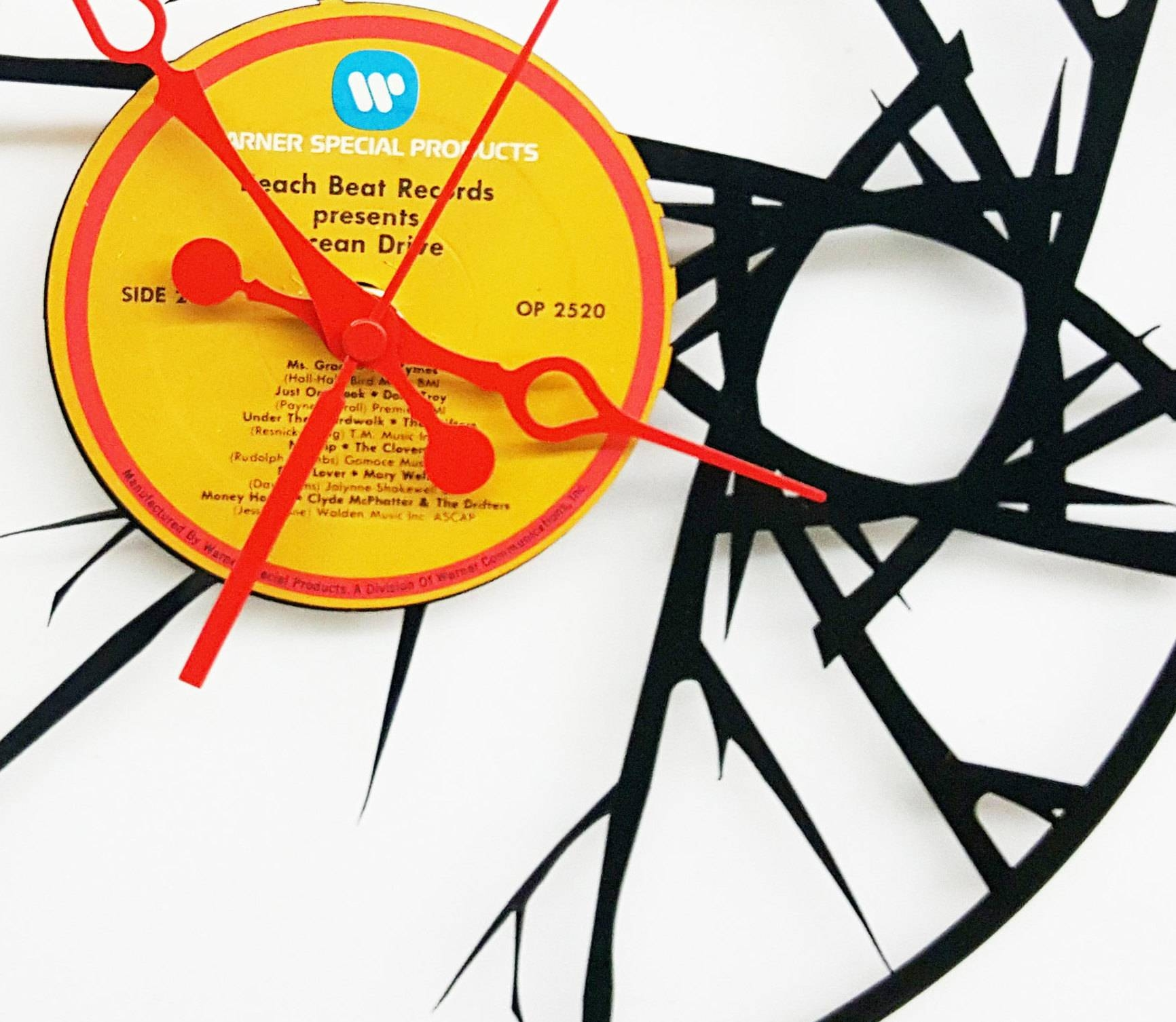 Blare Abstract Vinyl Record Clock, Abstract Wall Clock, Wall Clock Pertaining To Most Recently Released Abstract Wall Art With Clock (View 6 of 20)