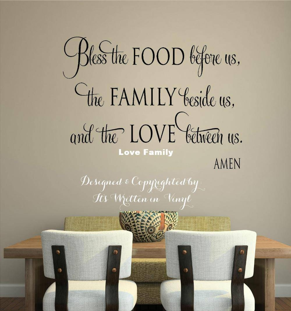 Bless The Food Vinyl Lettering Wall Decal Words Home Kitchen Art Inside 2018 Art Deco Wall Decals (View 10 of 20)
