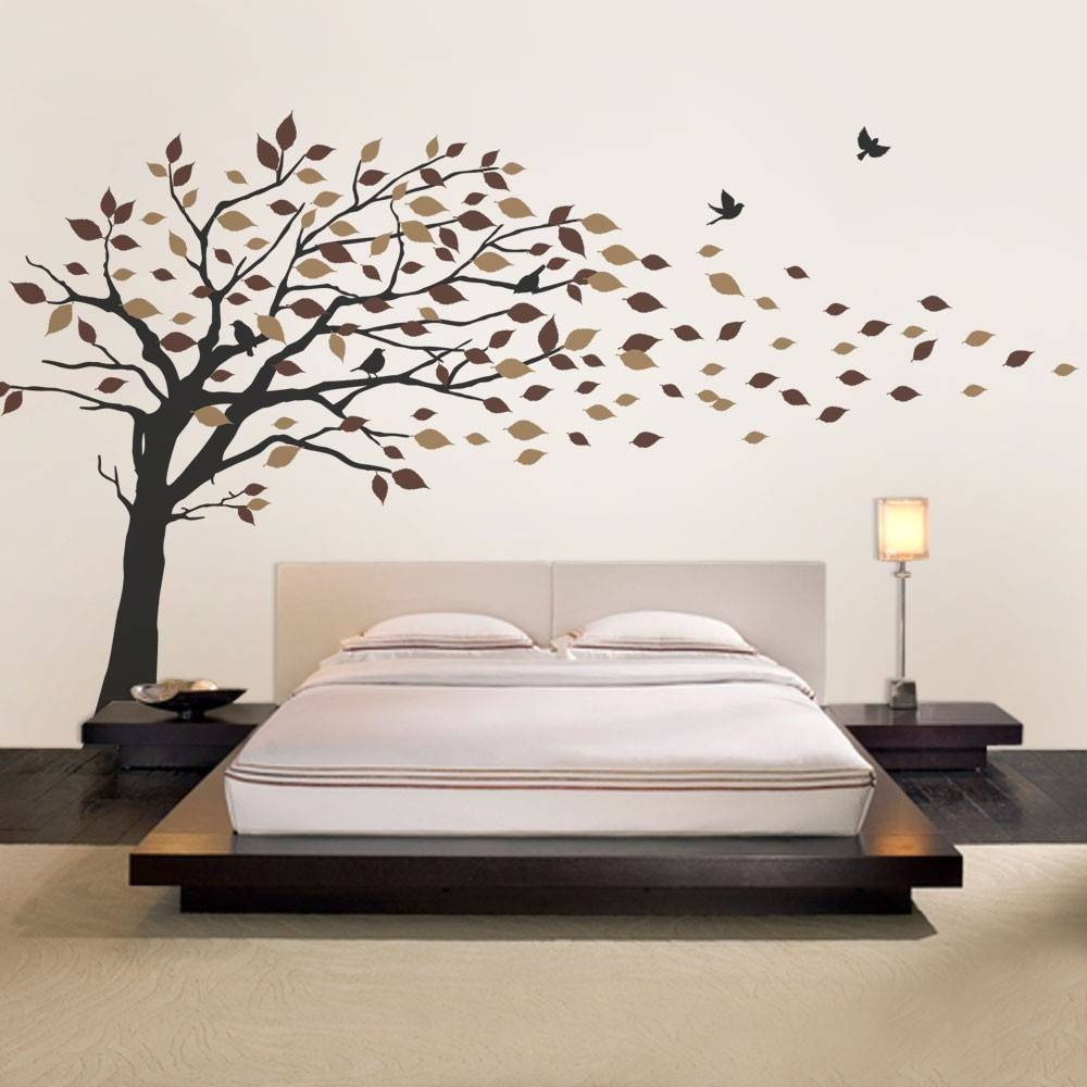 Blowing Leaves Tree Decal Inside Best And Newest Vinyl Wall Art Tree (View 2 of 20)