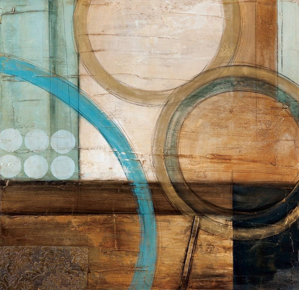 Blue And Brown Circles Modern Abstract Oil Painting Canvas Wall Pertaining To Recent Turquoise And Brown Wall Art (View 10 of 25)