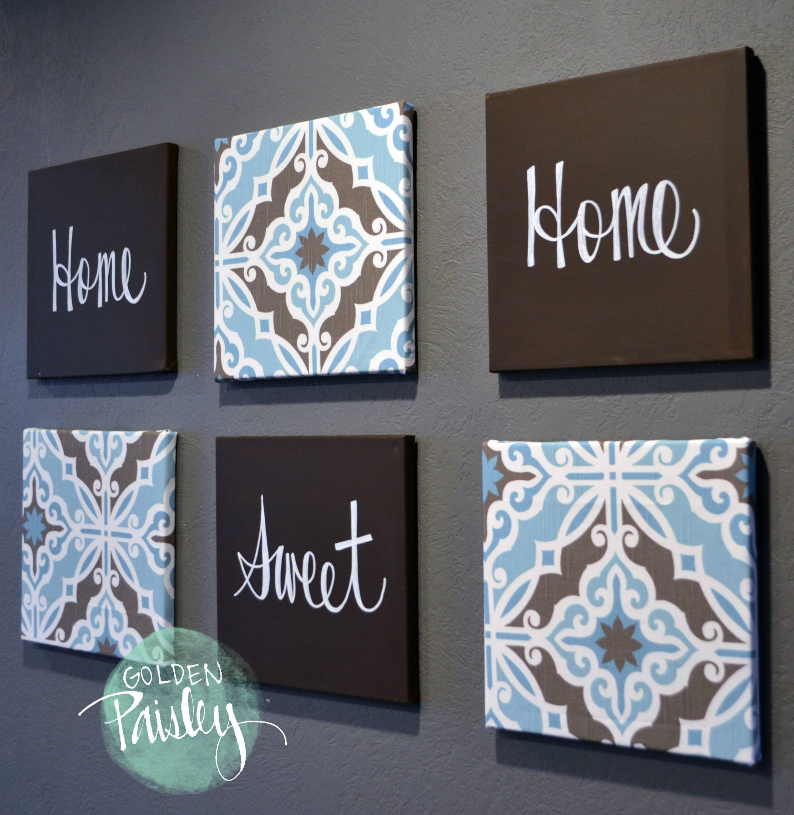 Blue And Dark Brown Eat Drink Be Merry 6 Piece Wall Art Pertaining To 2018 Dark Blue Wall Art (View 6 of 20)