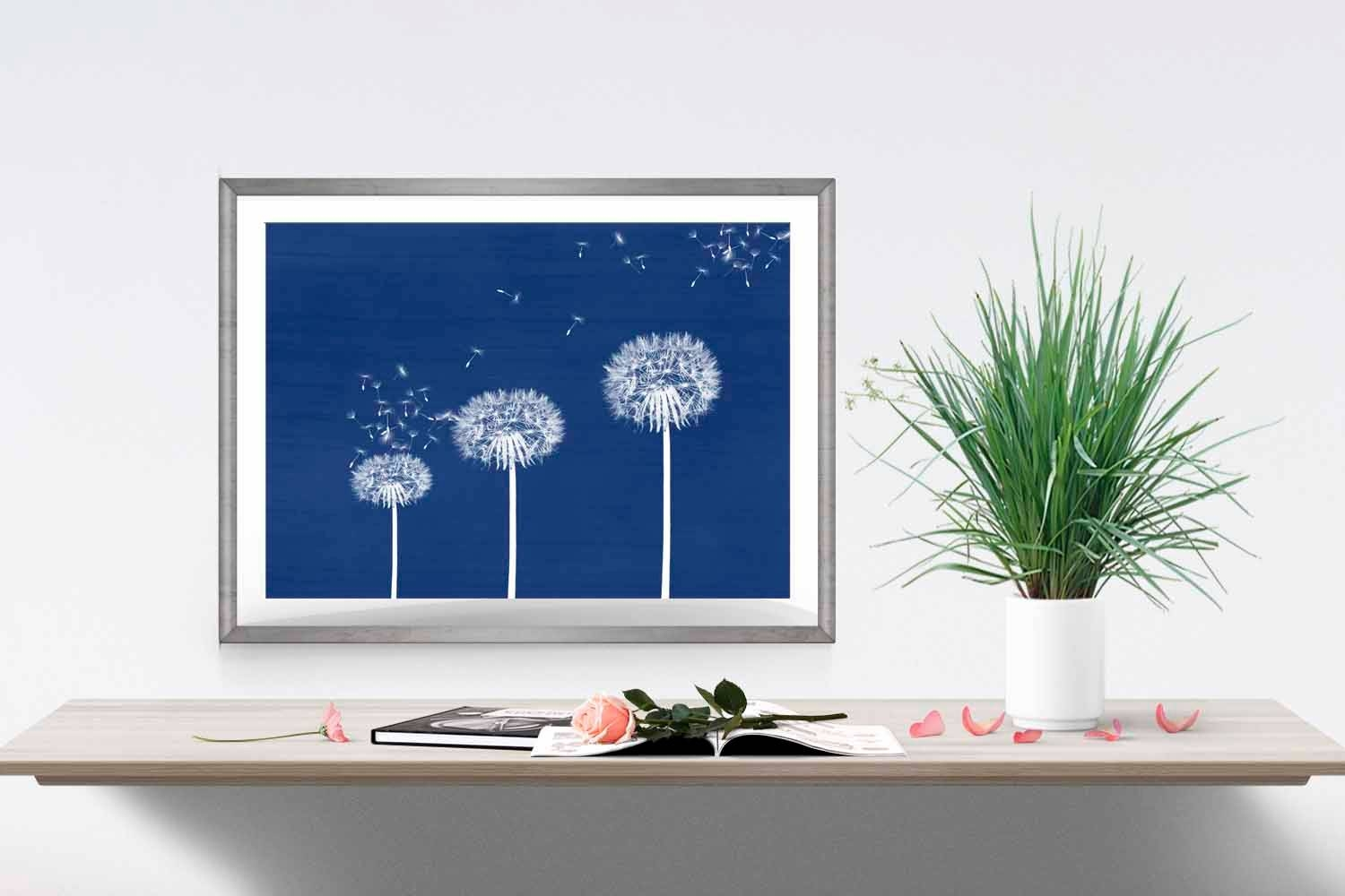 Blue Dandelion Print Navy Home Decor Dandelion Wall Art Flower Throughout Most Popular Dark Blue Wall Art (View 7 of 20)
