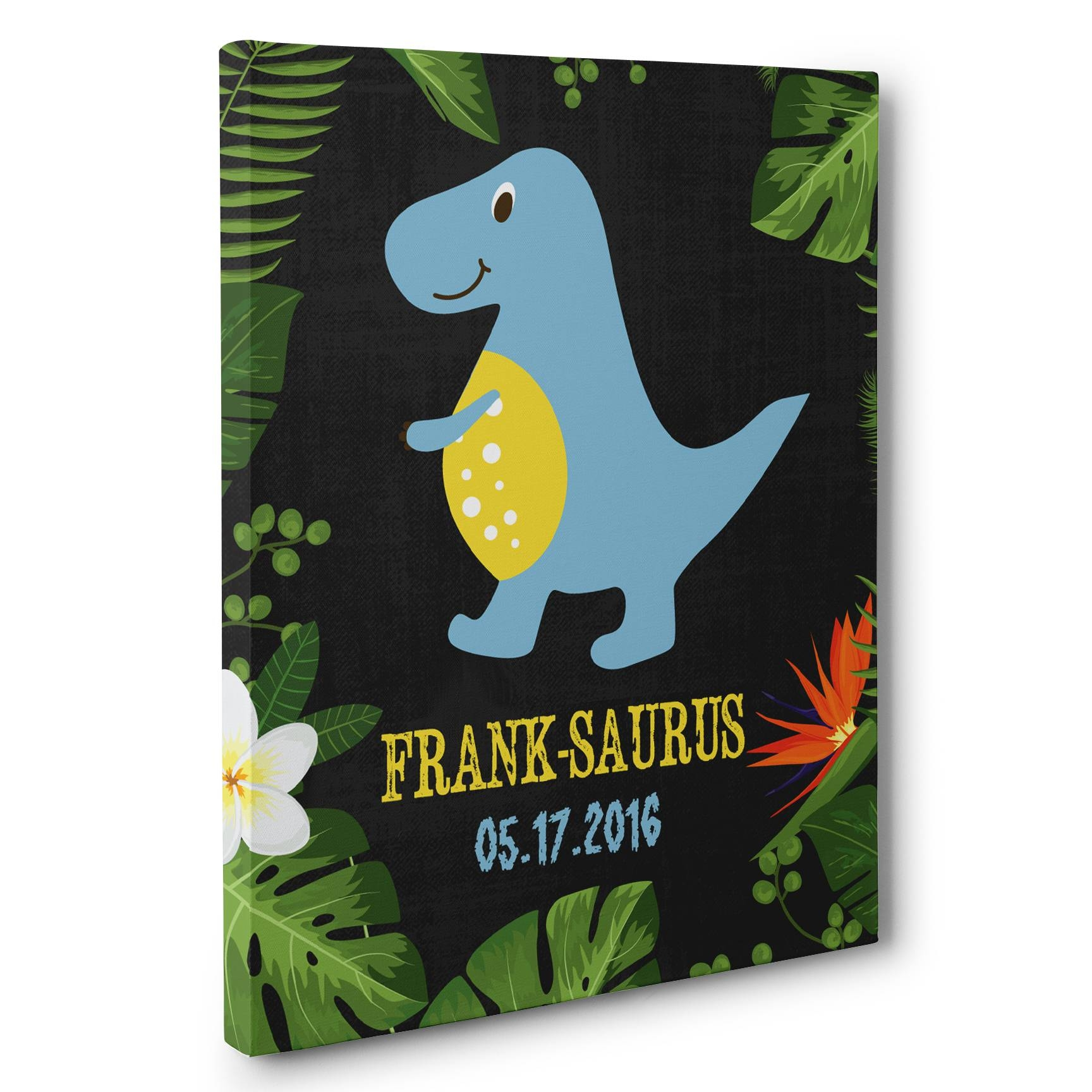 Blue Dinosaur Personalized Nursery Décor Canvas Wall Art – Paper Blast Within Most Popular Dinosaur Canvas Wall Art (View 11 of 15)
