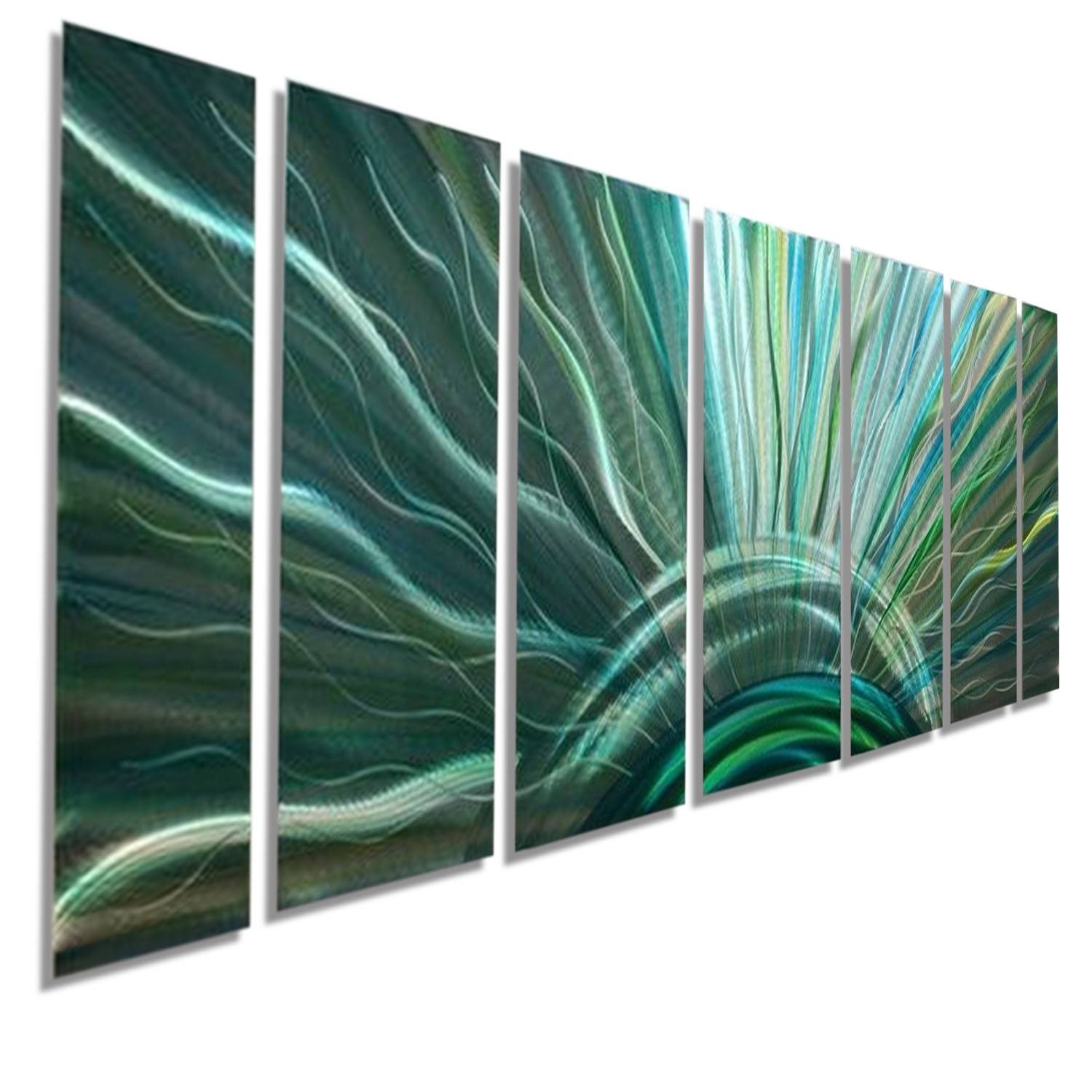 Blue Moon – Silver With Blue & Green Fusion Modern Metal Wall Art Intended For Most Current Blue And Silver Wall Art (View 8 of 20)
