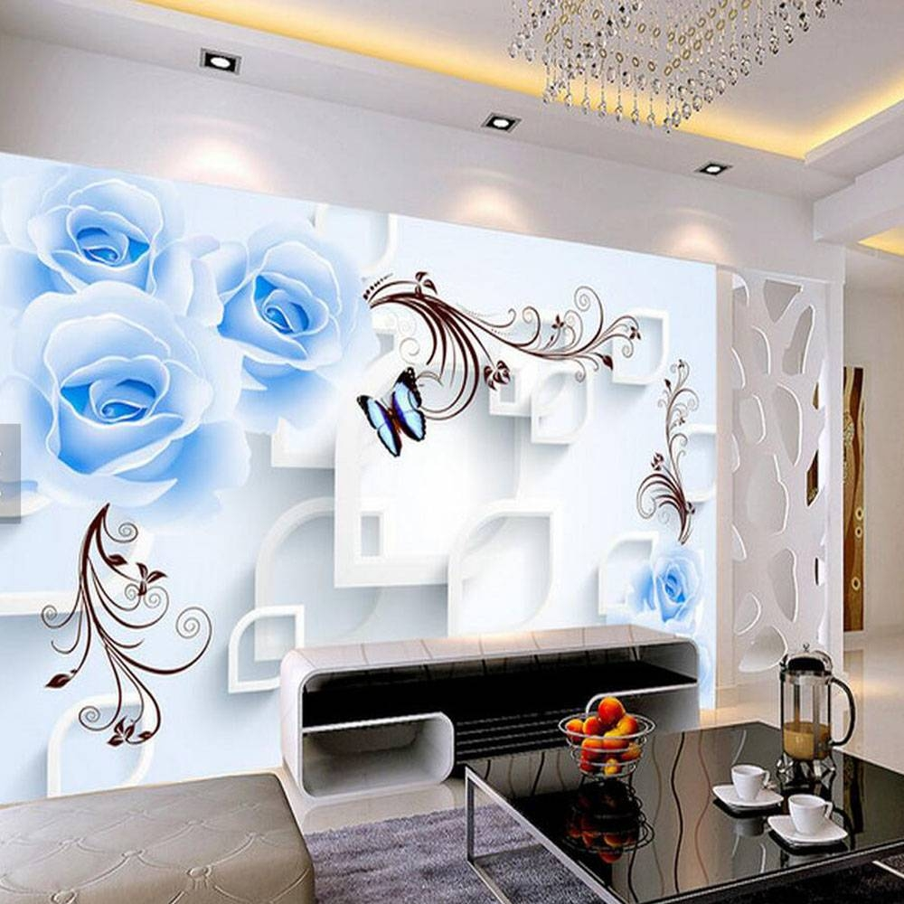Blue Rose Floral Wallpaper 3d Wall Mural For Living Room Home Wall Throughout 2018 3d Wall Art For Living Room (View 2 of 20)