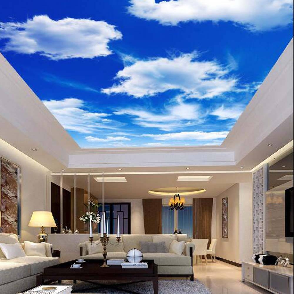 Blue Sky Clouds Ceiling Wallpaper Murals 3d Photo Wall Paper Rolls In Recent 3d Clouds Out Of Paper Wall Art (View 13 of 25)