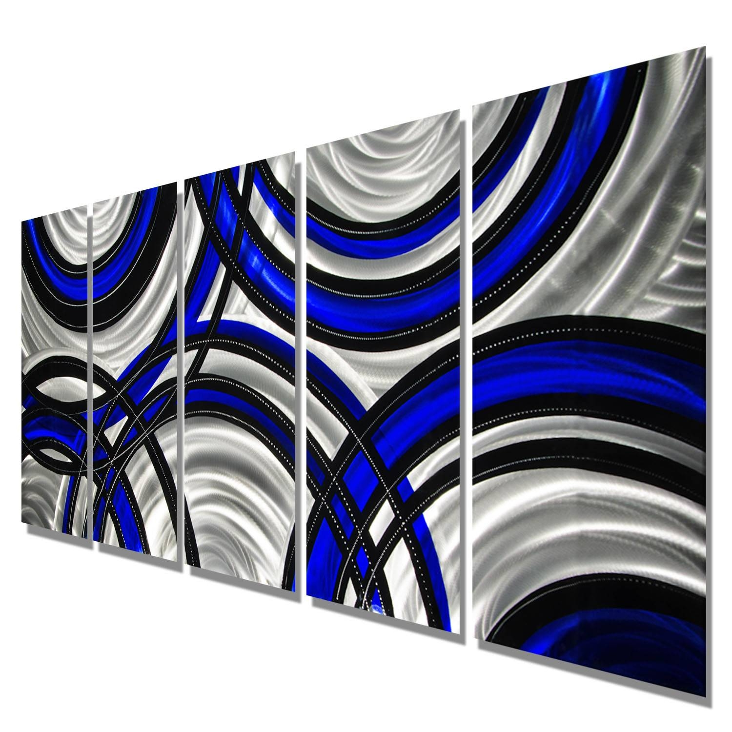 Blue Synergy – Blue, Black And Silver Metal Wall Art – 5 Panel Pertaining To Most Recent Blue And Silver Wall Art (View 2 of 20)