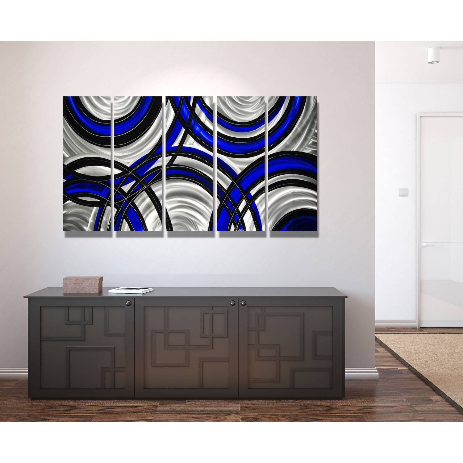 Blue Synergy – Blue, Black And Silver Metal Wall Art – 5 Panel With Regard To Most Up To Date Blue And Silver Wall Art (View 13 of 20)