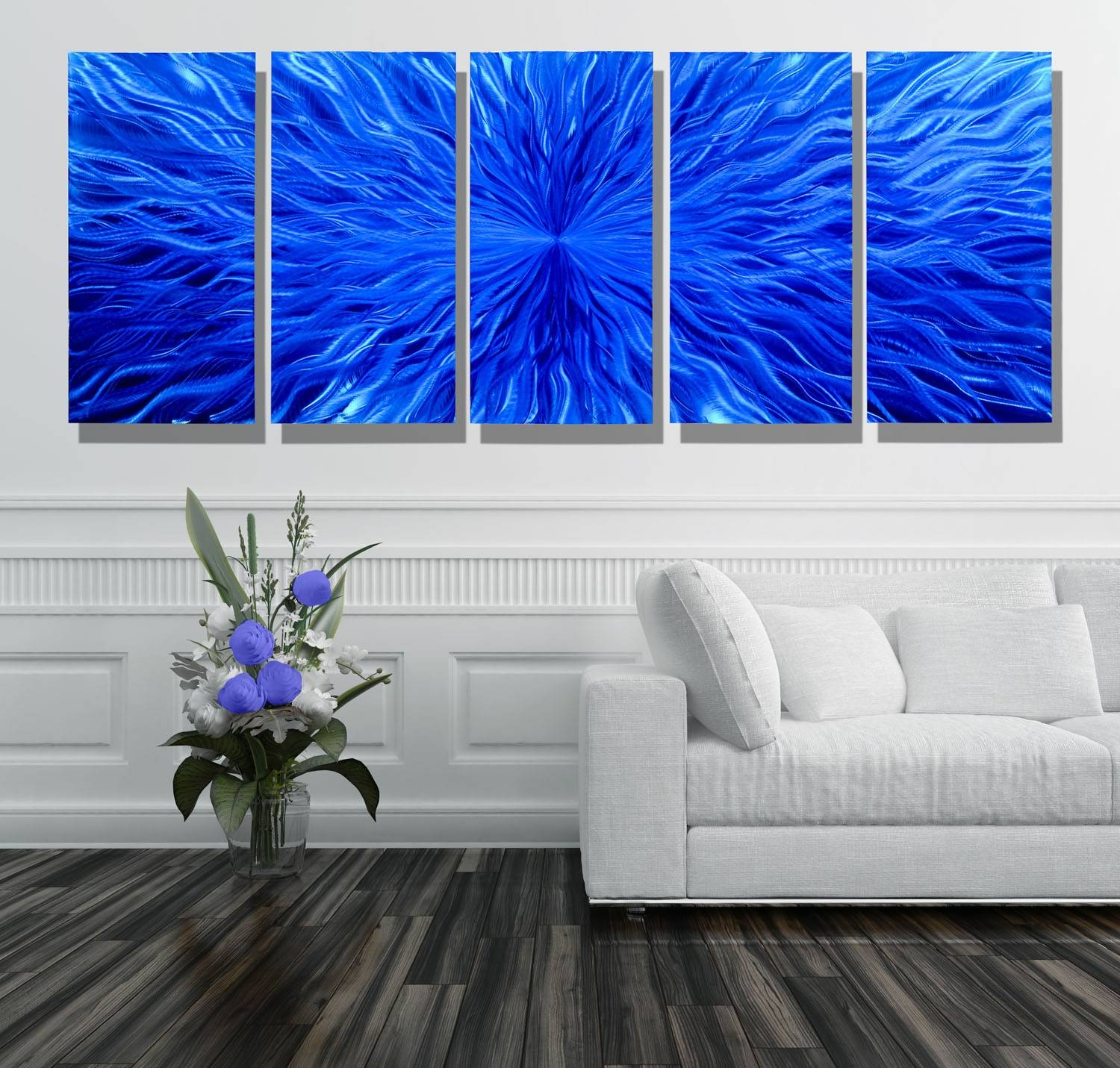 Blue Vortex Xl – Extra Large Modern Contemporary Metal Wall Art Pertaining To Most Current Large Modern Wall Art (View 6 of 20)