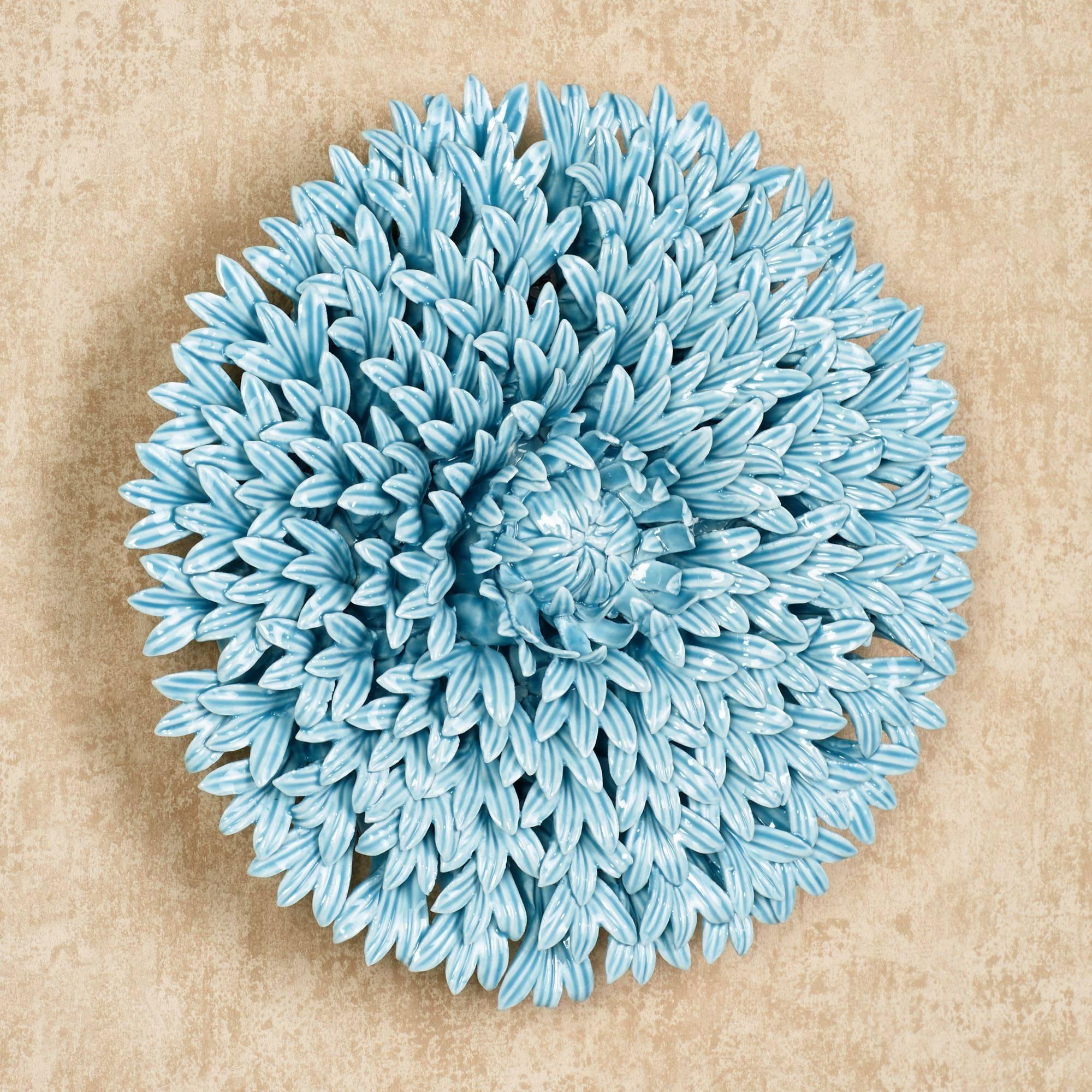 Blue Wall Art, Blue Porcelain Flower Wall Art Ceramic Flower Wall With Regard To 2018 Ceramic Flower Wall Art (View 12 of 30)