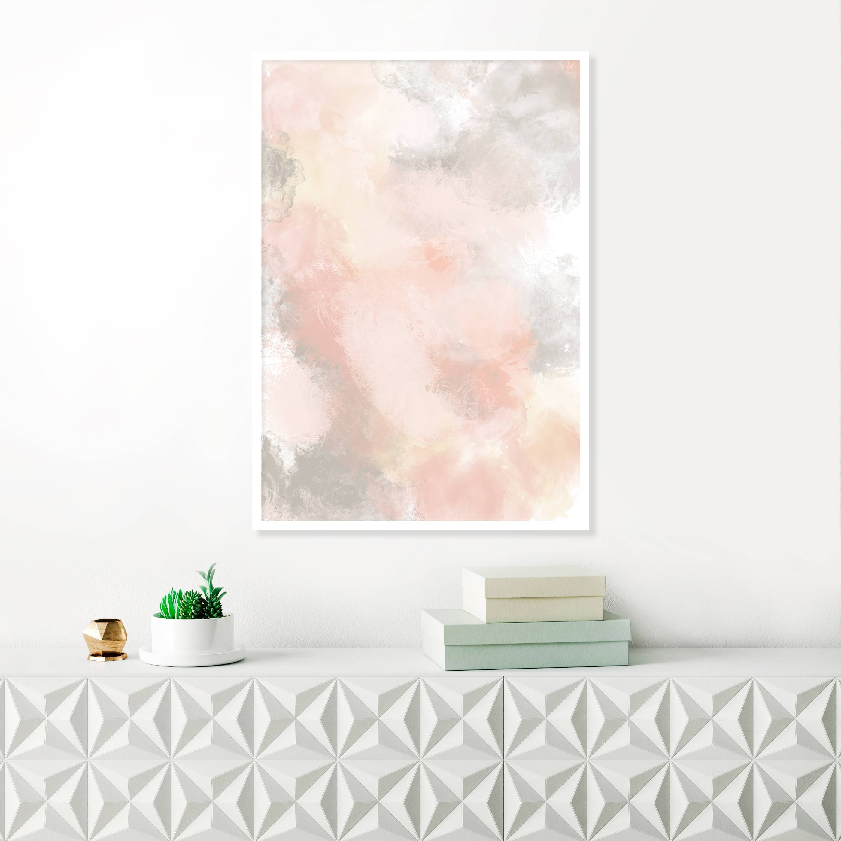 Blush Pink And Grey Painting, Pink Abstract Art, Pink Wall Art Pertaining To Most Recent Pink And Grey Wall Art (View 5 of 20)