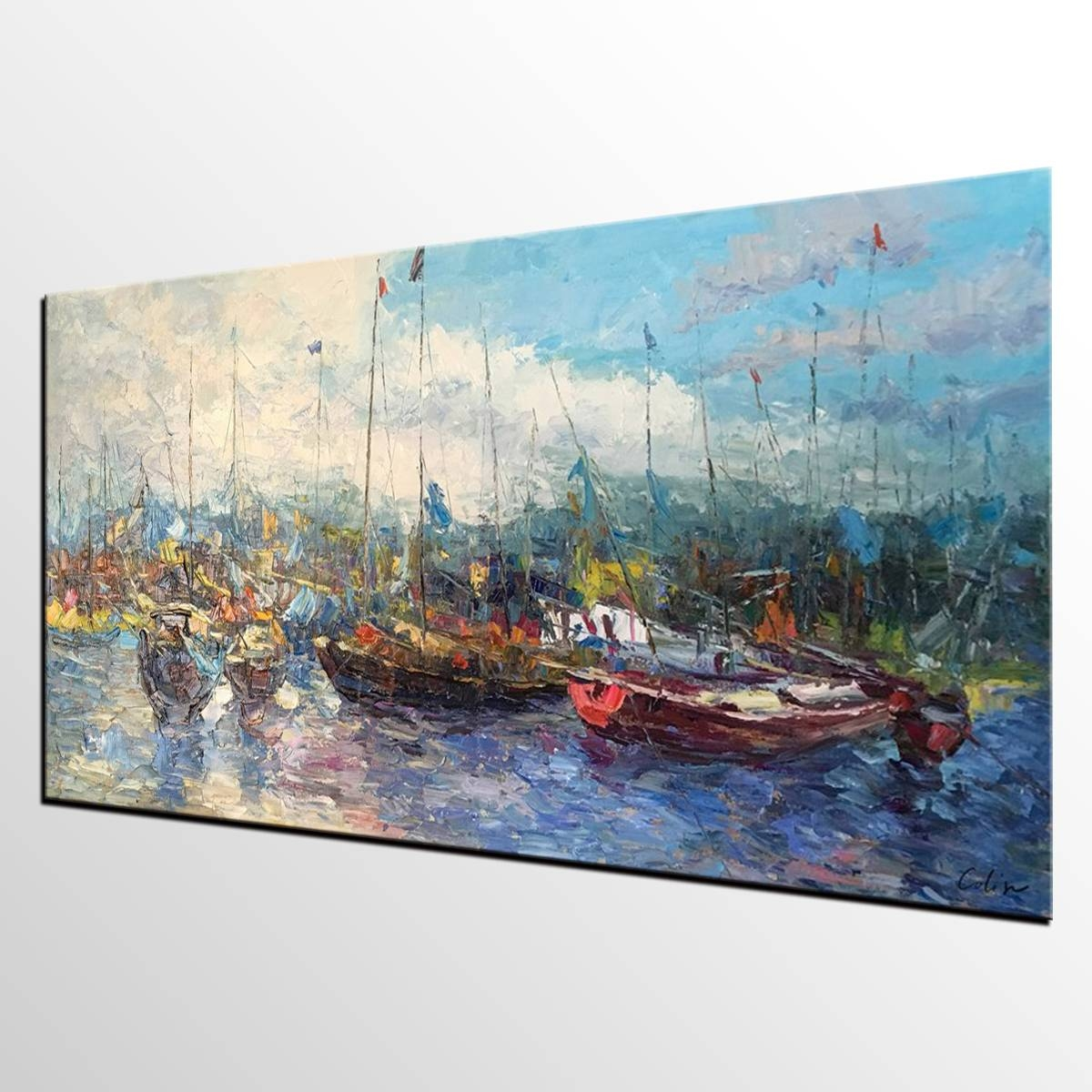 Boat Painting, Landscape Painting, Original Artwork, Canvas Intended For 2018 Boat Wall Art (View 6 of 20)