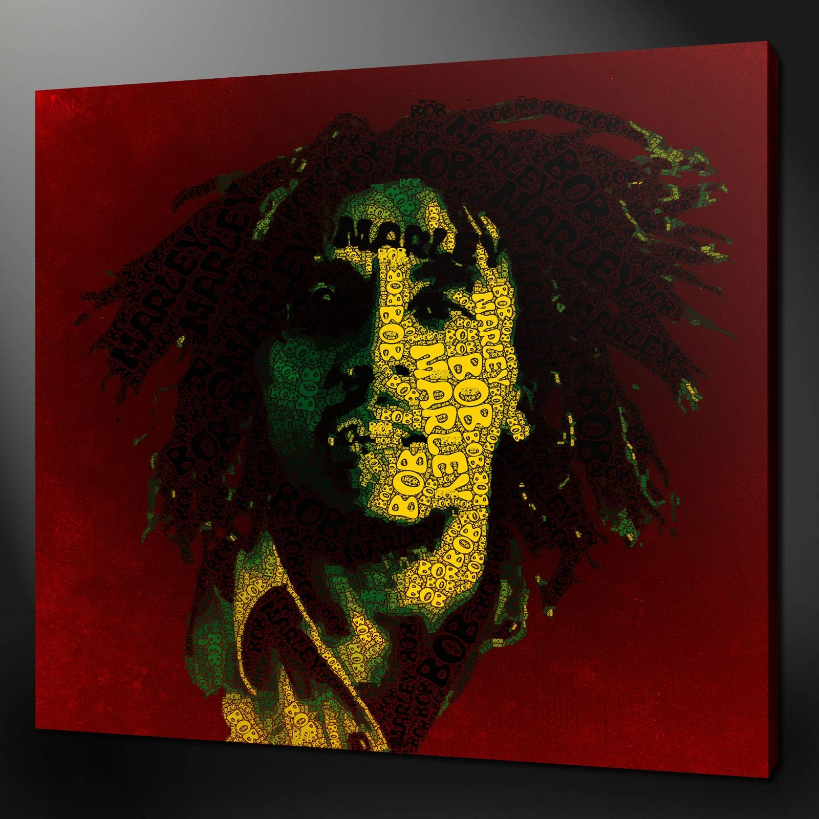 Bob Marley Typography Music Reggae Wall Art Picture Canvas Print Intended For Current Bob Marley Canvas Wall Art (View 19 of 25)