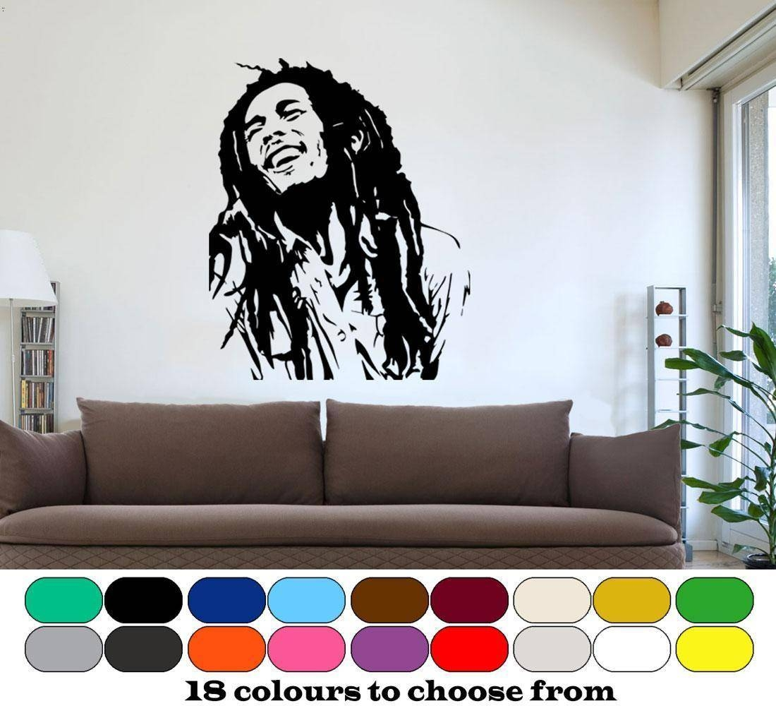 "Bob Marley"" Wall Art, Graphic, Vinyl, Mural, Sticker, Decal, Home Pertaining To Best And Newest Bob Marley Wall Art (View 19 of 30)"
