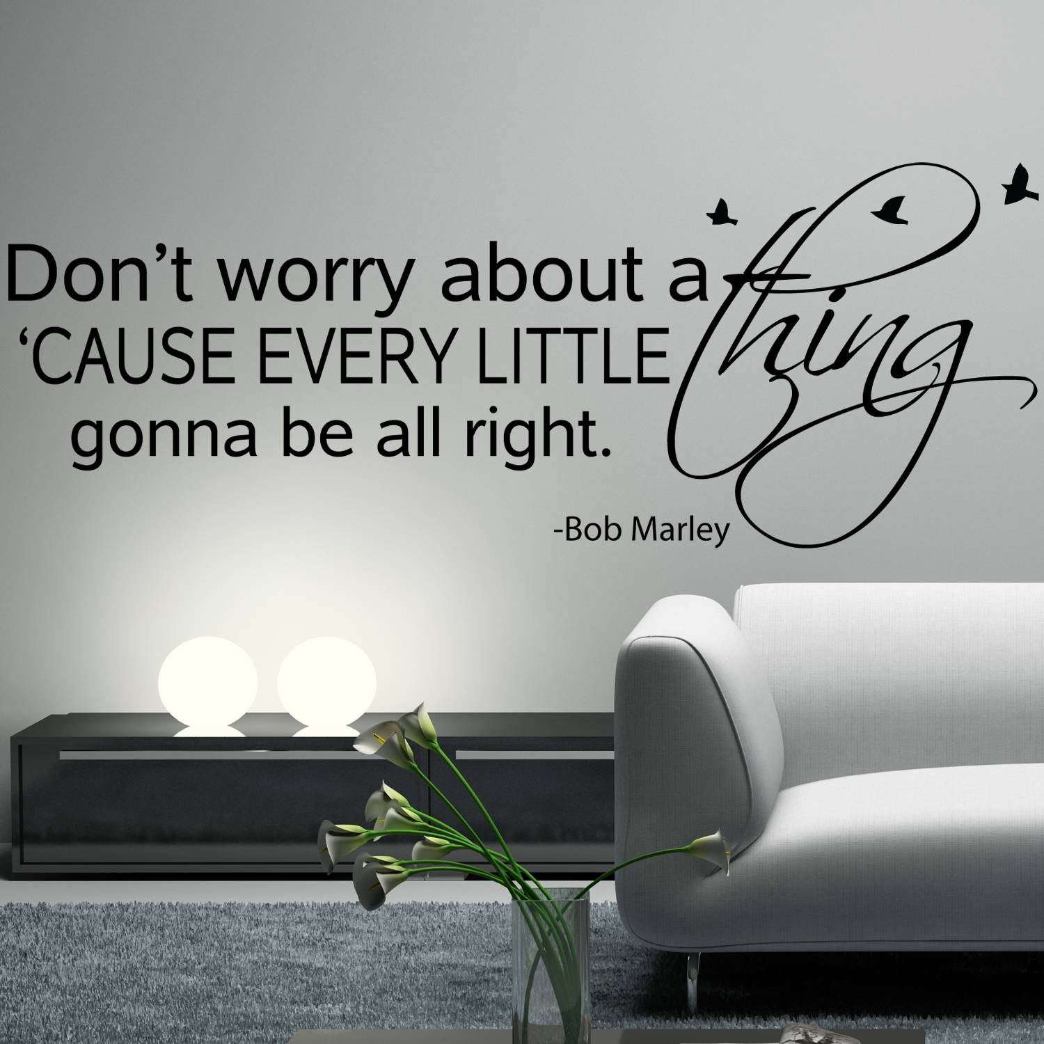 Bob Marley Wall Decal Sticker Art Vinyl Quote Don't Worry About A Intended For Most Current Bob Marley Wall Art (View 22 of 30)