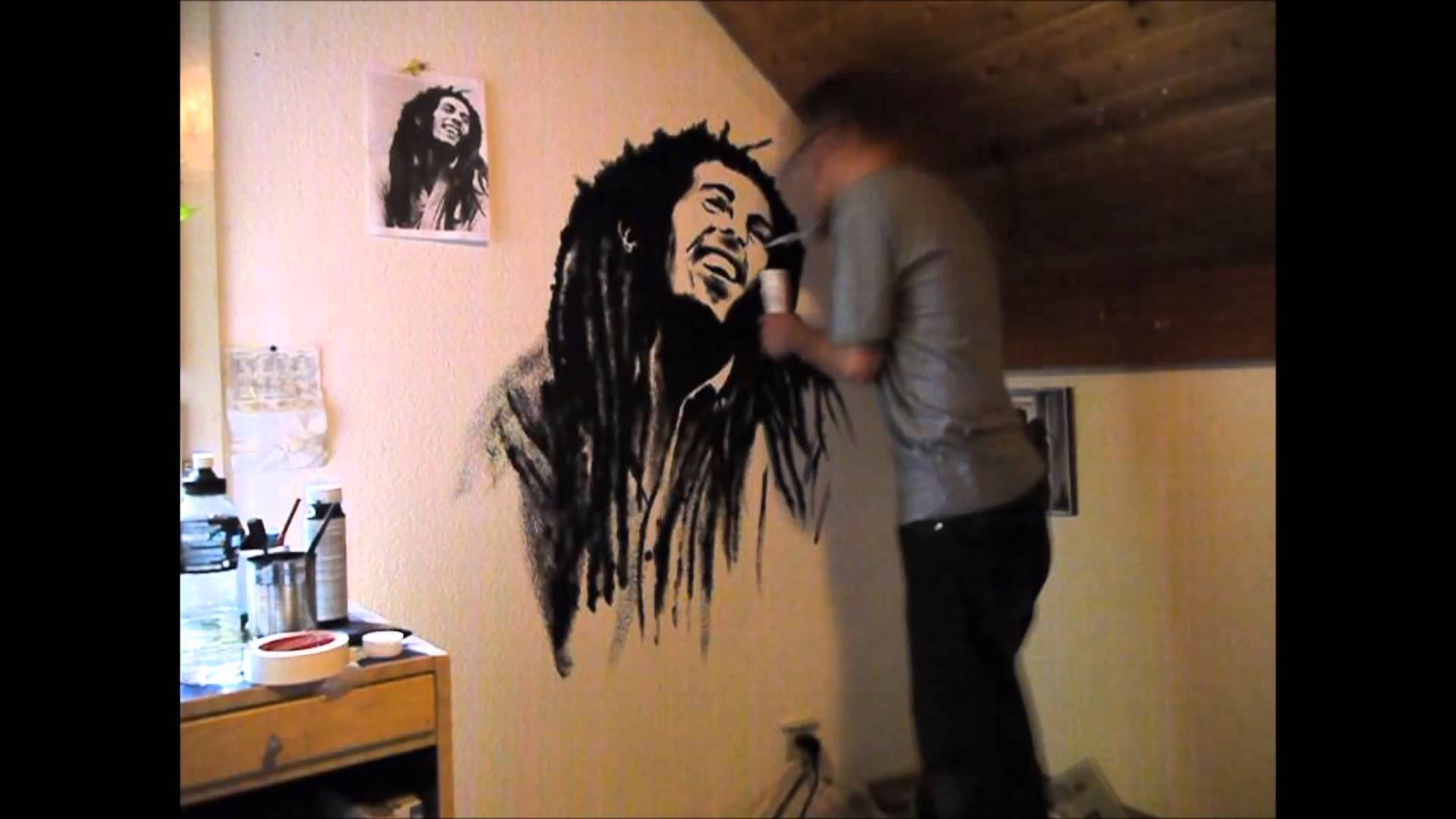 Bob Marley Wall Painting – Youtube Inside Most Recently Released Bob Marley Wall Art (View 18 of 30)