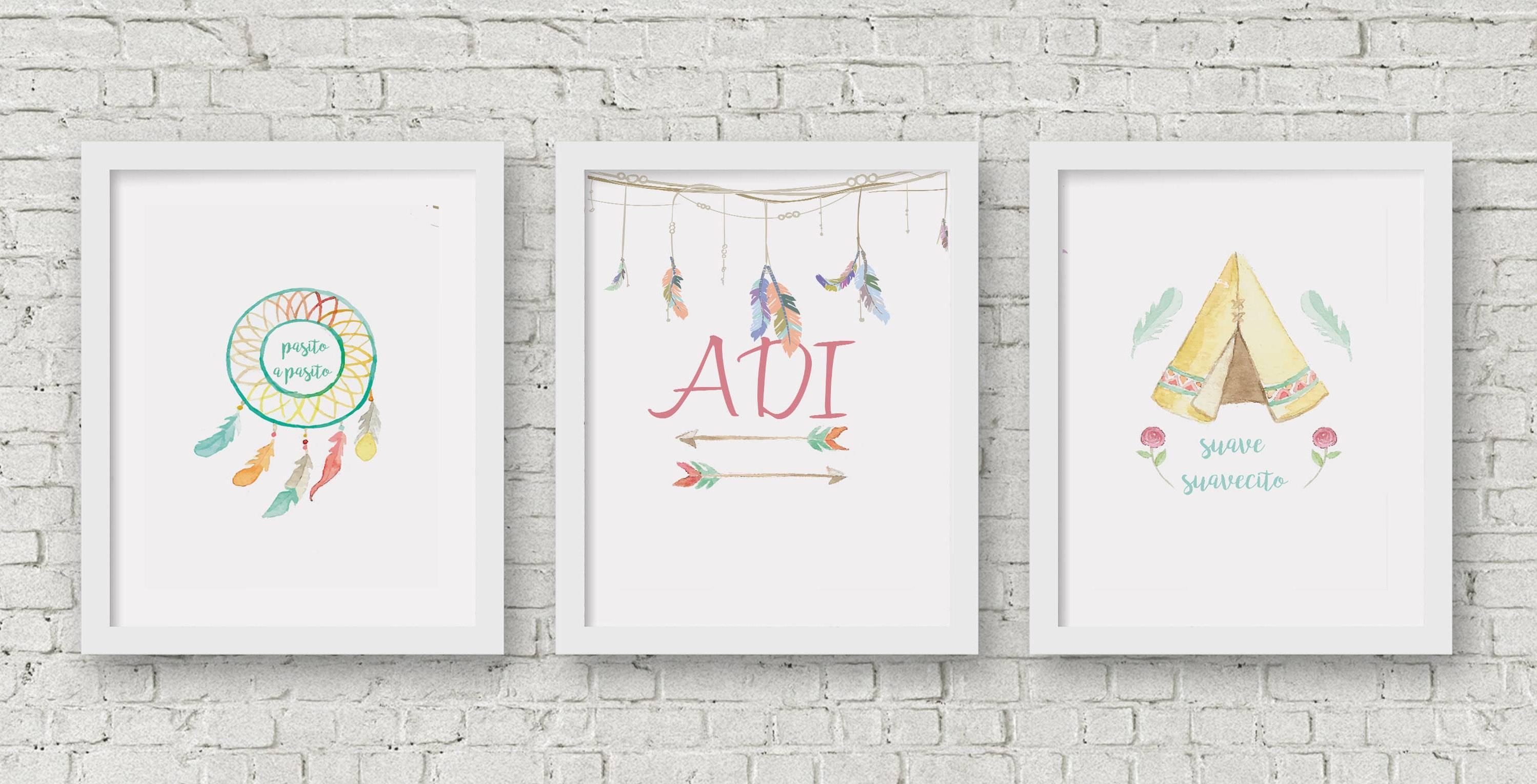 Boho Wall Art Set, Wall Decor Printable, Teenage Wall Poster Within Latest Teenage Wall Art (View 17 of 30)