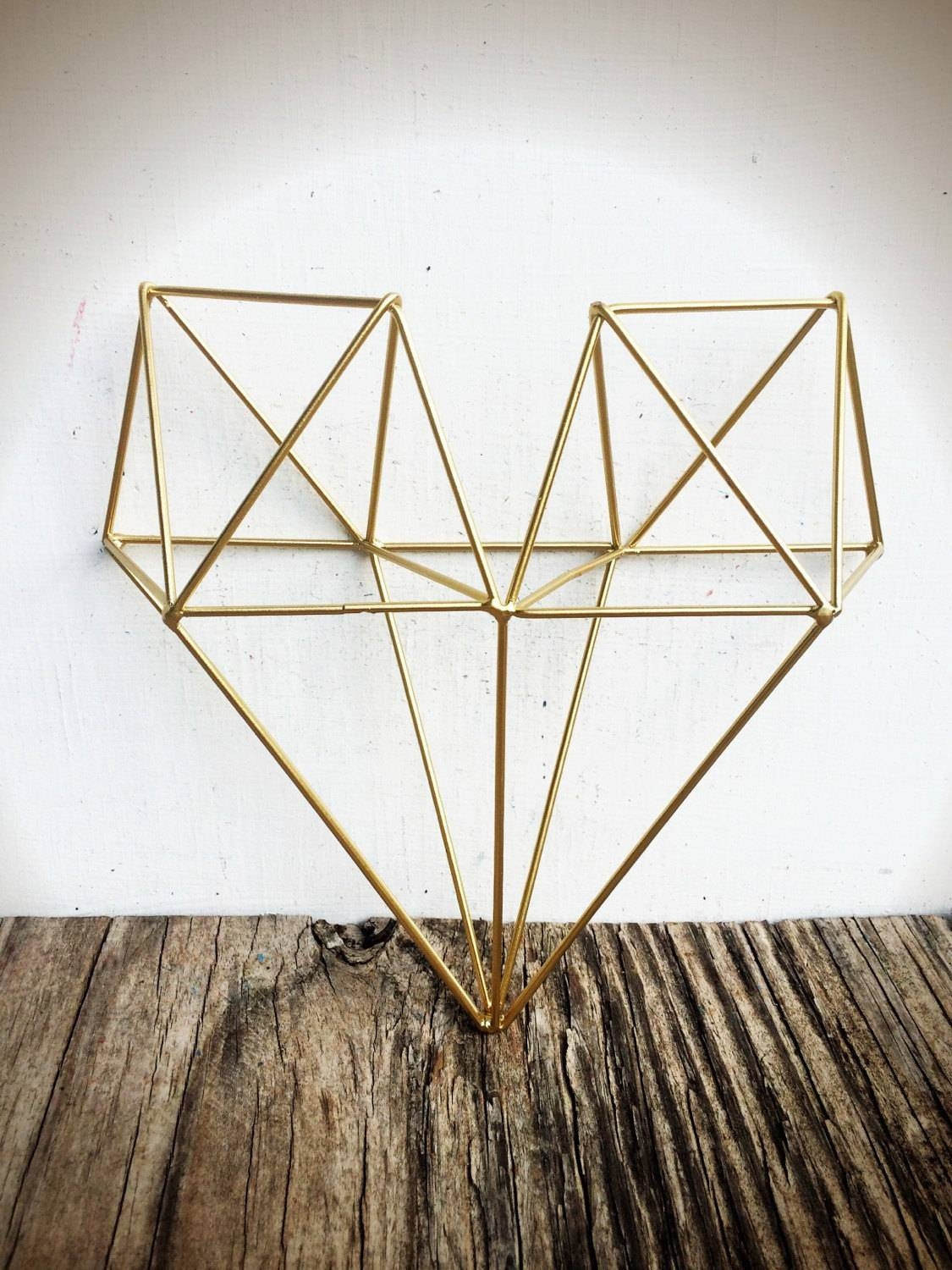 Bold 3D Geometric Metal Heart Wall Art // Metallic Gold Leaf With Most Recent Wire Wall Art Decors (View 6 of 25)