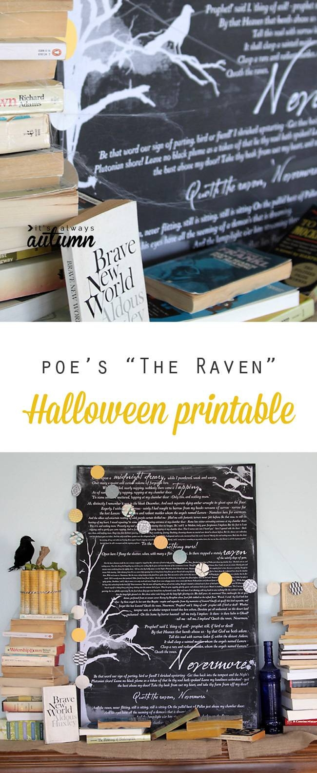 "Book Inspired Halloween Mantle Decor & ""the Raven"" Free Printable Throughout Most Current Autumn  Inspired Wall Art (View 21 of 25)"