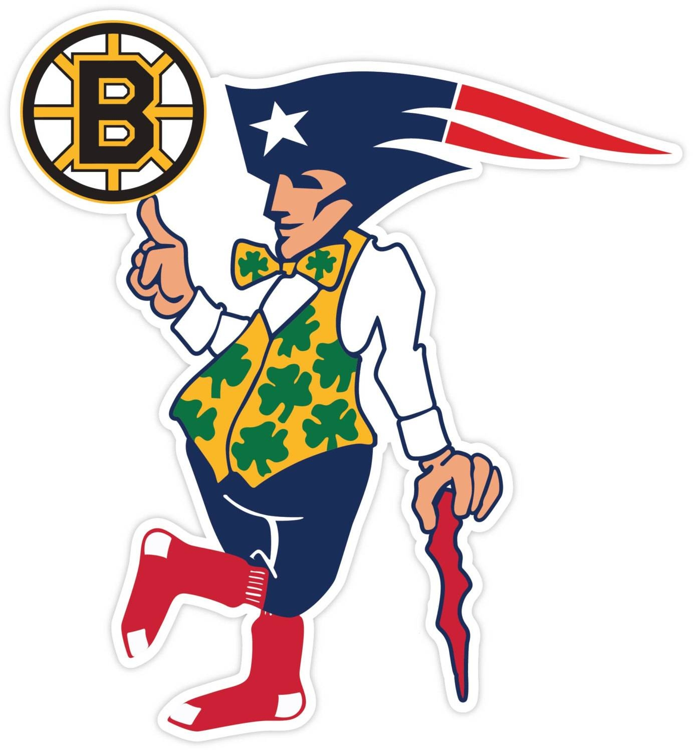Boston Fan Sport Teams Red Sox Bruins Celtics Patriots Vinyl Inside Current Red Sox Wall Decals (View 5 of 30)
