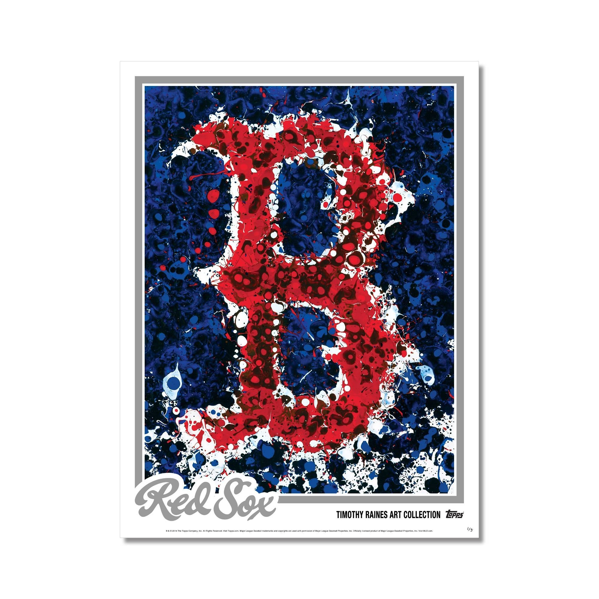 Boston Red Sox Logo Art Poster – Silver Edition # To 5 | Topps Pertaining To 2017 Boston Red Sox Wall Art (View 24 of 25)