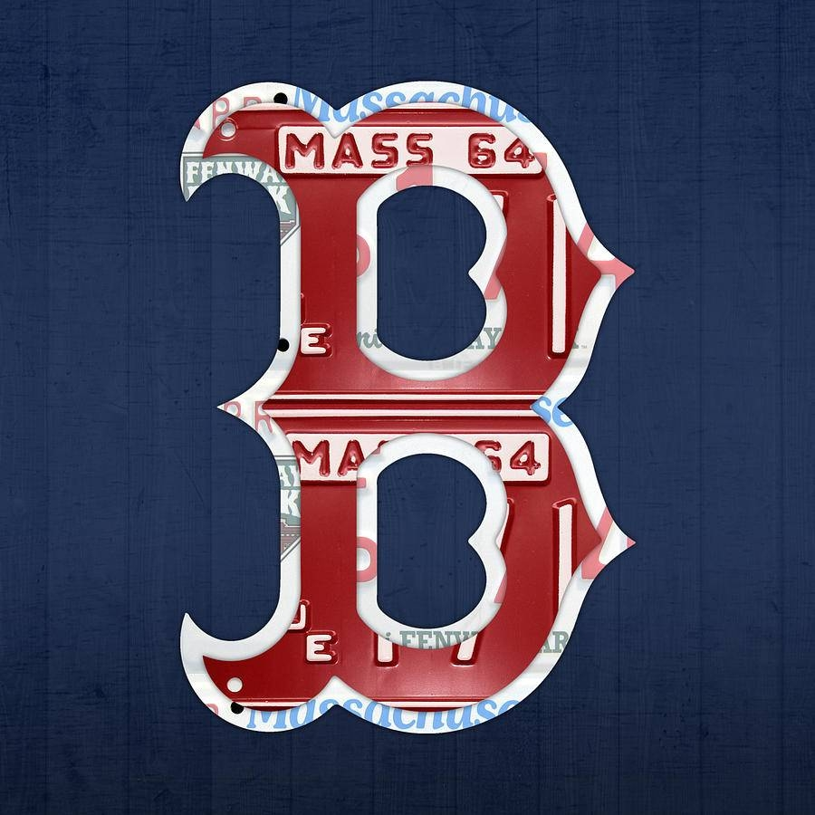 Boston Red Sox Logo Letter B Baseball Team Vintage License Plate With Recent Red Sox Wall Art (View 4 of 23)