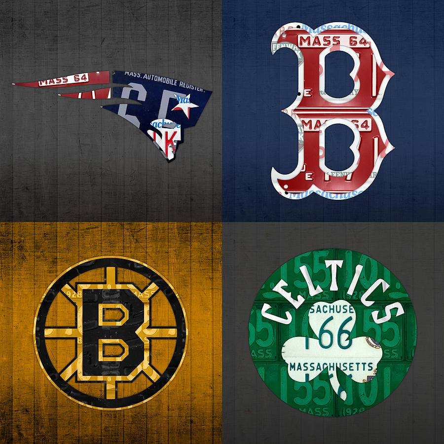 Boston Sports Fan Recycled Vintage Massachusetts License Plate Art Regarding Most Recently Released Boston Red Sox Wall Art (View 2 of 25)
