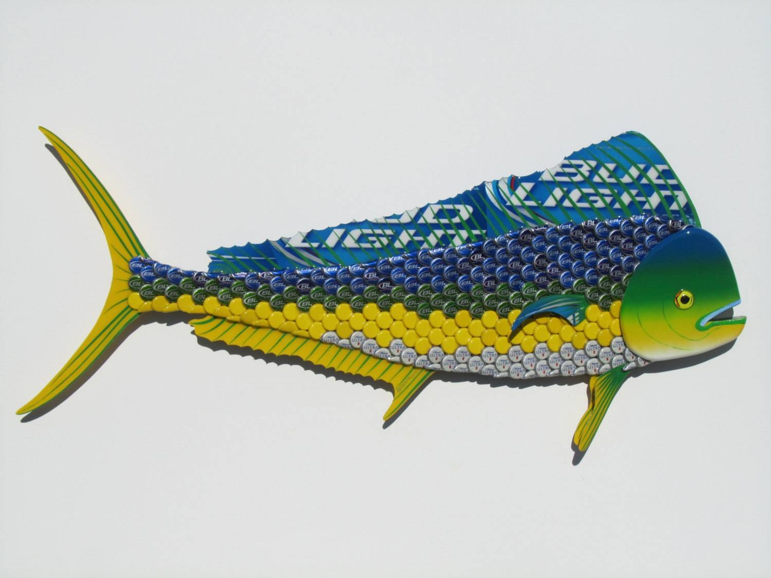 Bottle Cap Fish Metal Wall Art Mahi Mahi Dolphin Sculpture Inside Recent Dolphin Metal Wall Art (View 9 of 25)