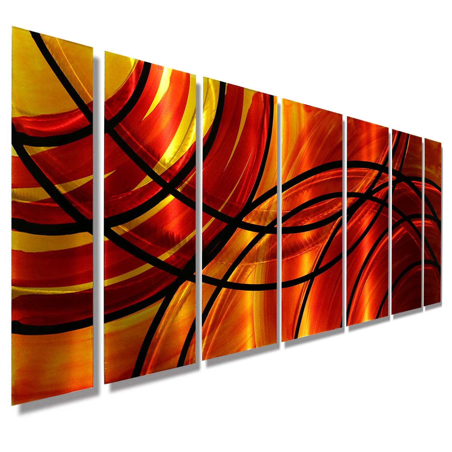 Boundfire – Red & Orange Modern Metal Wall Artjon Allen Within Current Multiple Panel Wall Art (View 5 of 20)