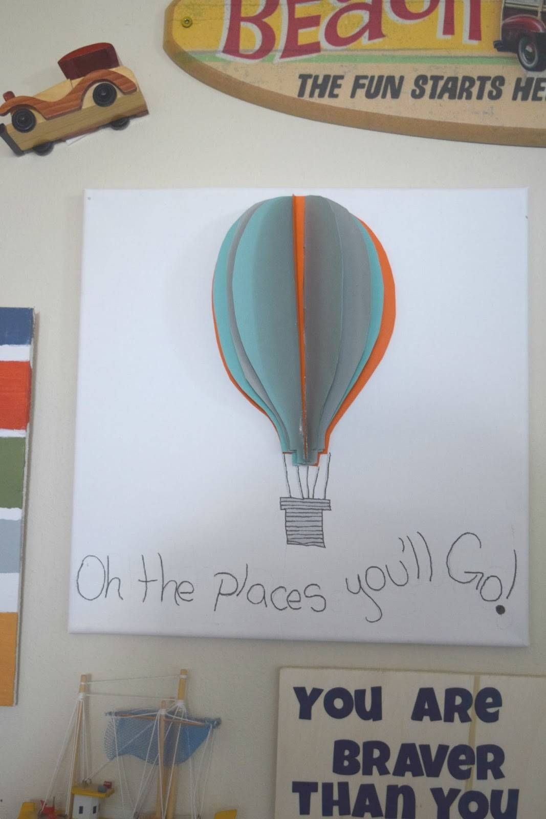Boy Bedroom Gallery Wall, Some Diy Projects And A Giveaway! • Our Inside Most Up To Date Air Balloon 3d Wall Art (View 16 of 20)