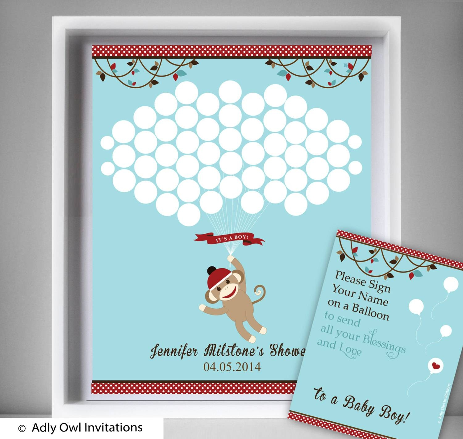 Boy Sock Monkey Guest Book Printable Alternative And Boy Sock Regarding Newest Sock Monkey Wall Art (View 15 of 30)