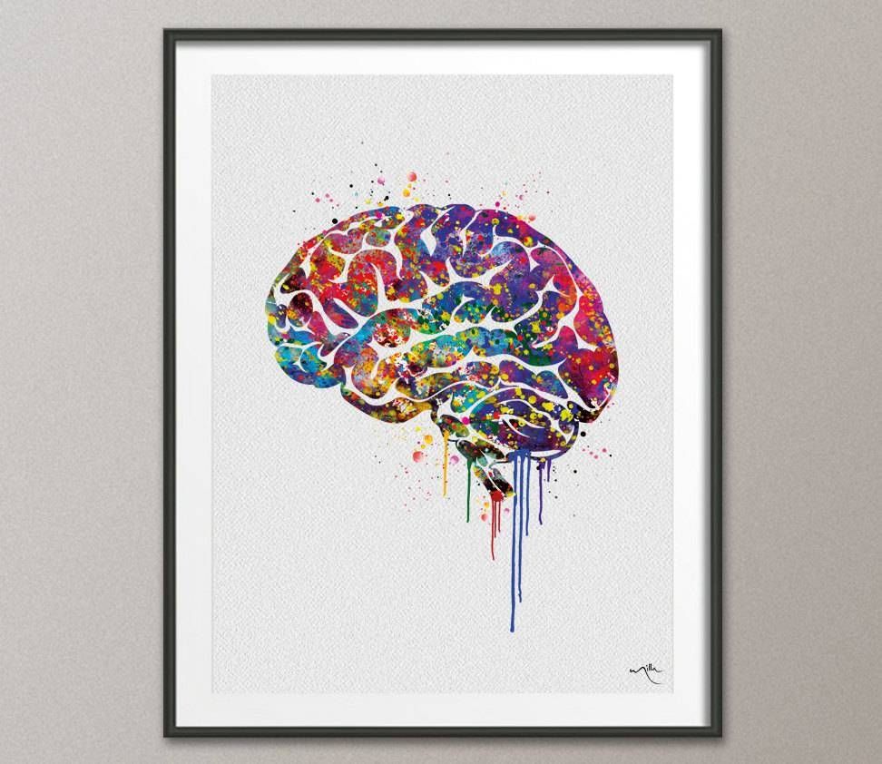 Brain Anatomy Watercolor Print Medical Art Science Art Wall For Best And Newest Medical Wall Art (View 9 of 20)