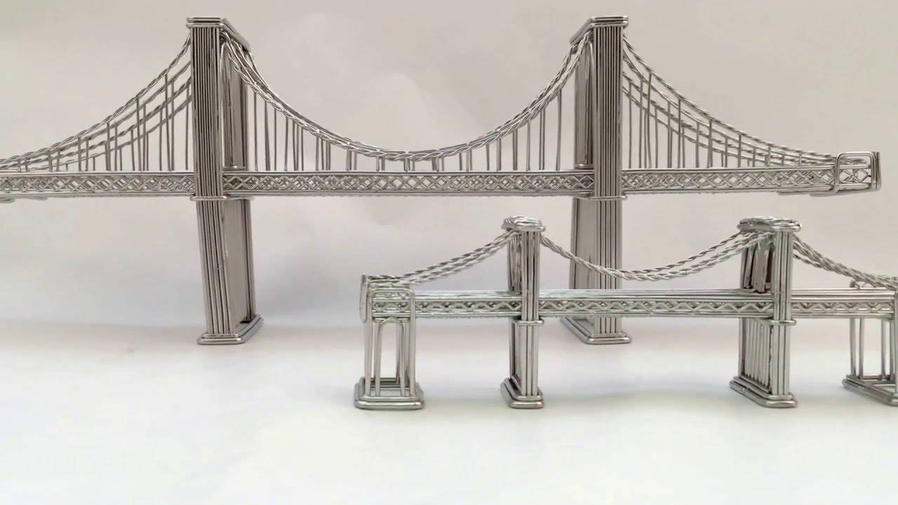 Brooklyn Bridge Replica Statue, Model Made Of Steel Wire – Youtube With Most Current Brooklyn Bridge Metal Wall Art (View 14 of 25)