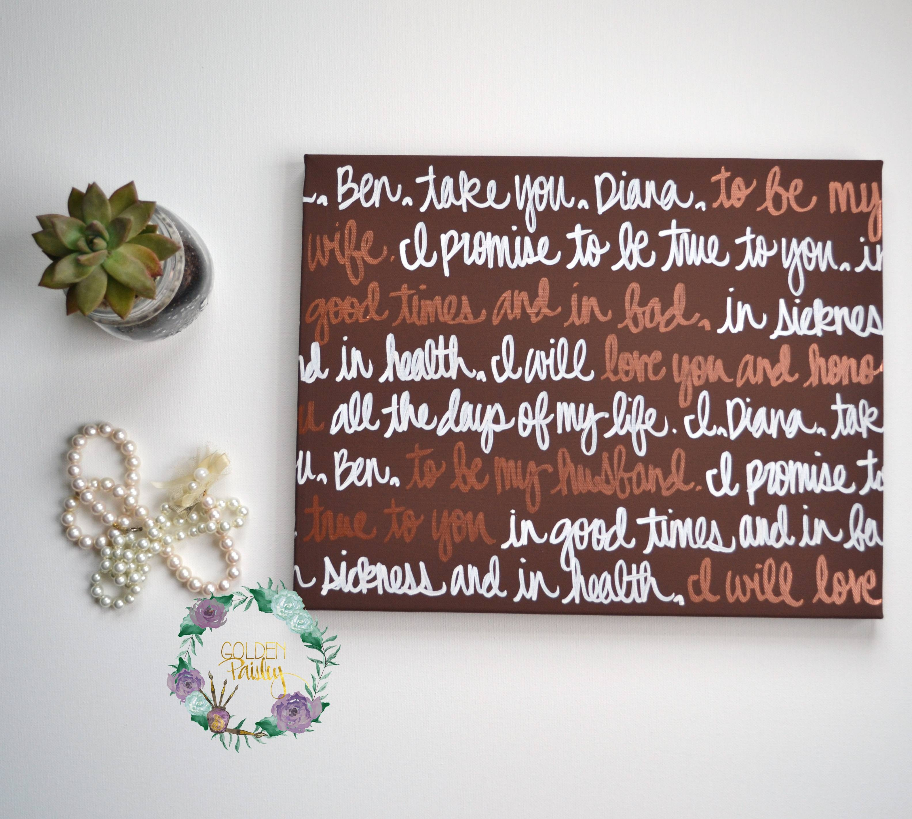 Brown And Bronze Hand Lettered Wedding Vow Art With Regard To Most Current Seasonal Wall Art (View 6 of 20)