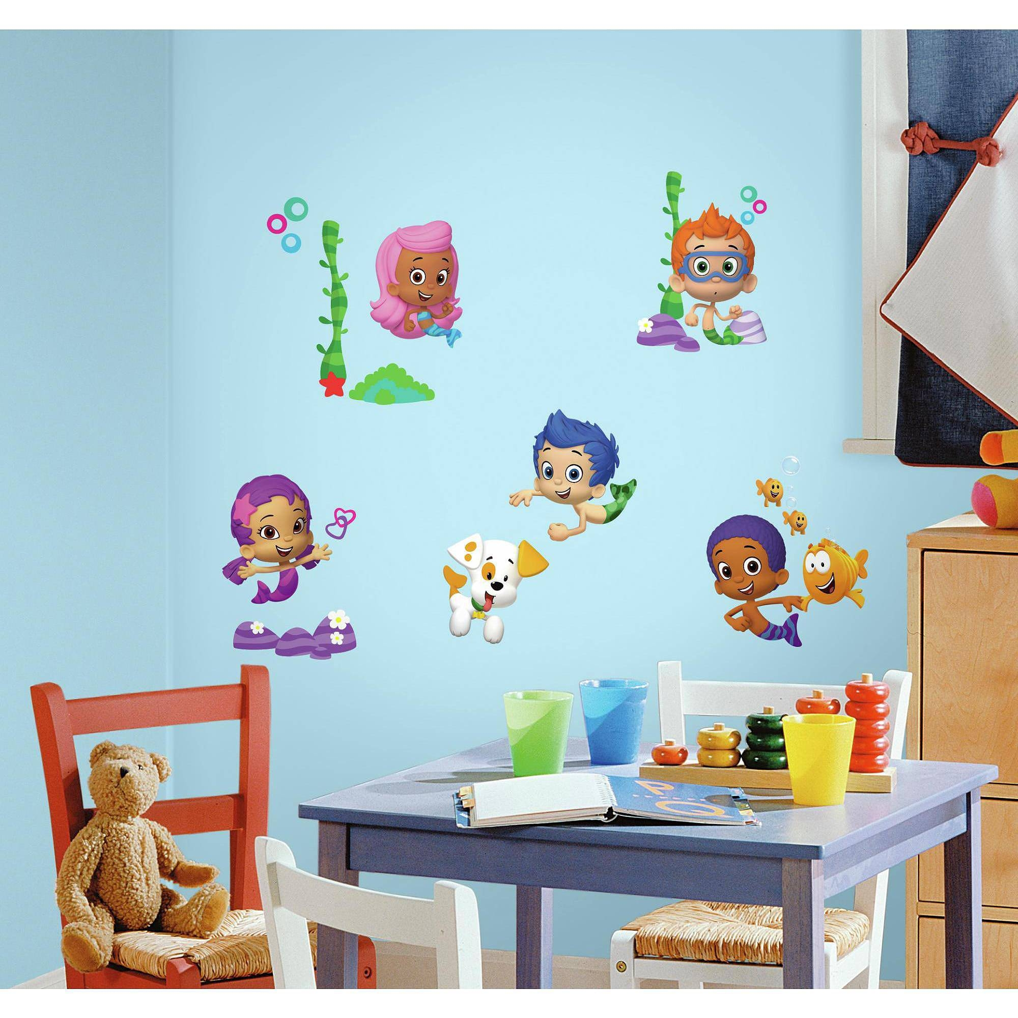 Bubble Guppies Peel And Stick Wall Decals – Walmart With Current Walmart Wall Stickers (View 11 of 25)