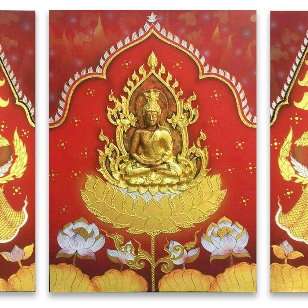 Buddha Art On Heaven Painting Incredible 3d Art | Royal Thai Art Pertaining To Latest 3d Buddha Wall Art (View 12 of 20)