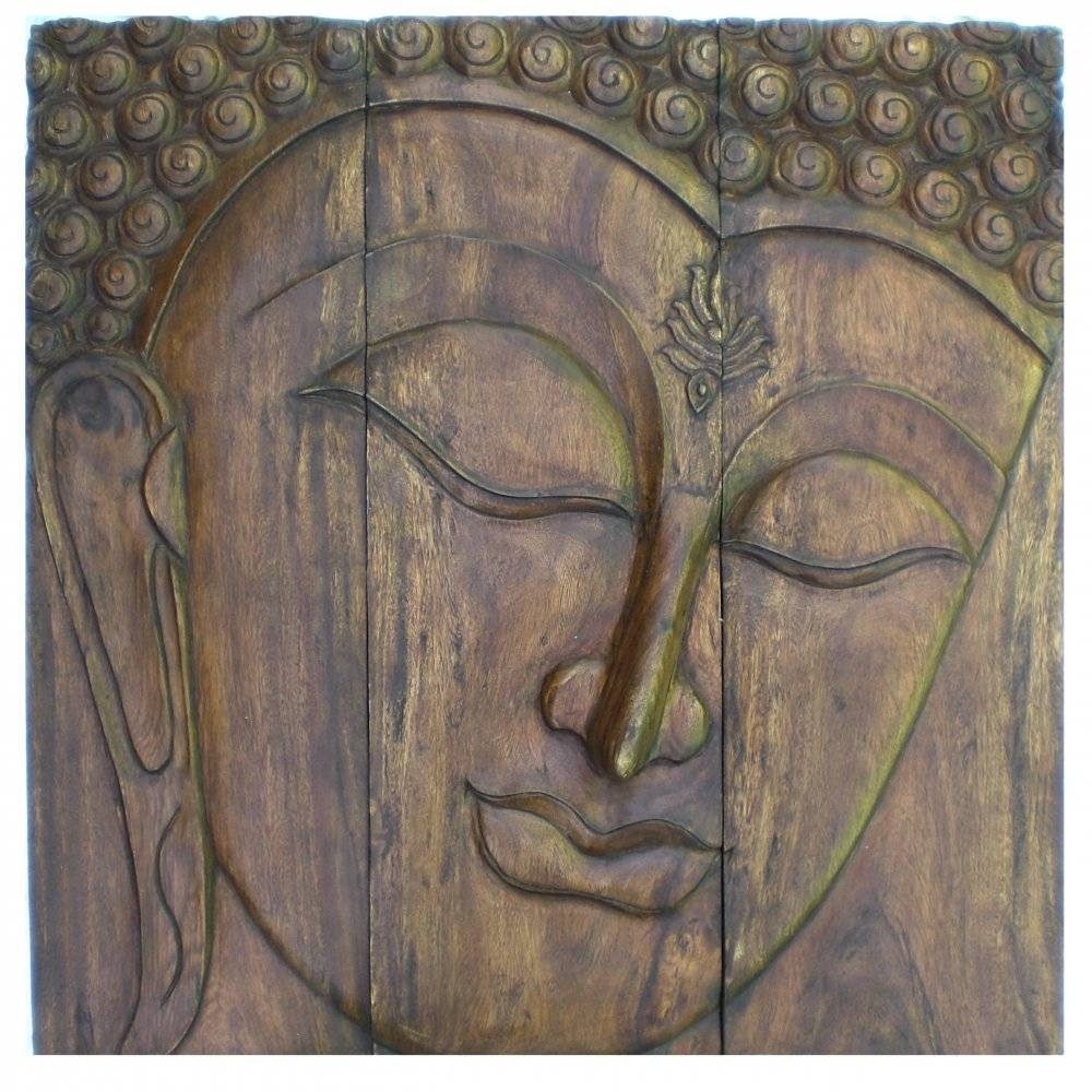 "Buddha Face Wall Art 1M X 1M (39"" X 39"") Dark Wood With Regard To Newest Buddha Wooden Wall Art (View 2 of 20)"