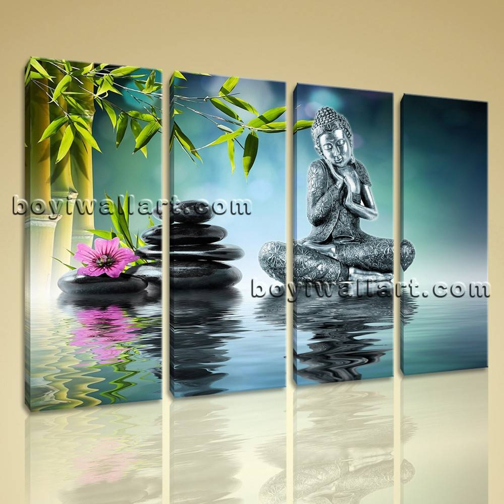Buddha Feng Shui Wall Art On Canvas Living Room Tetraptych Panels With Regard To Best And Newest Feng Shui Wall Art (View 5 of 20)