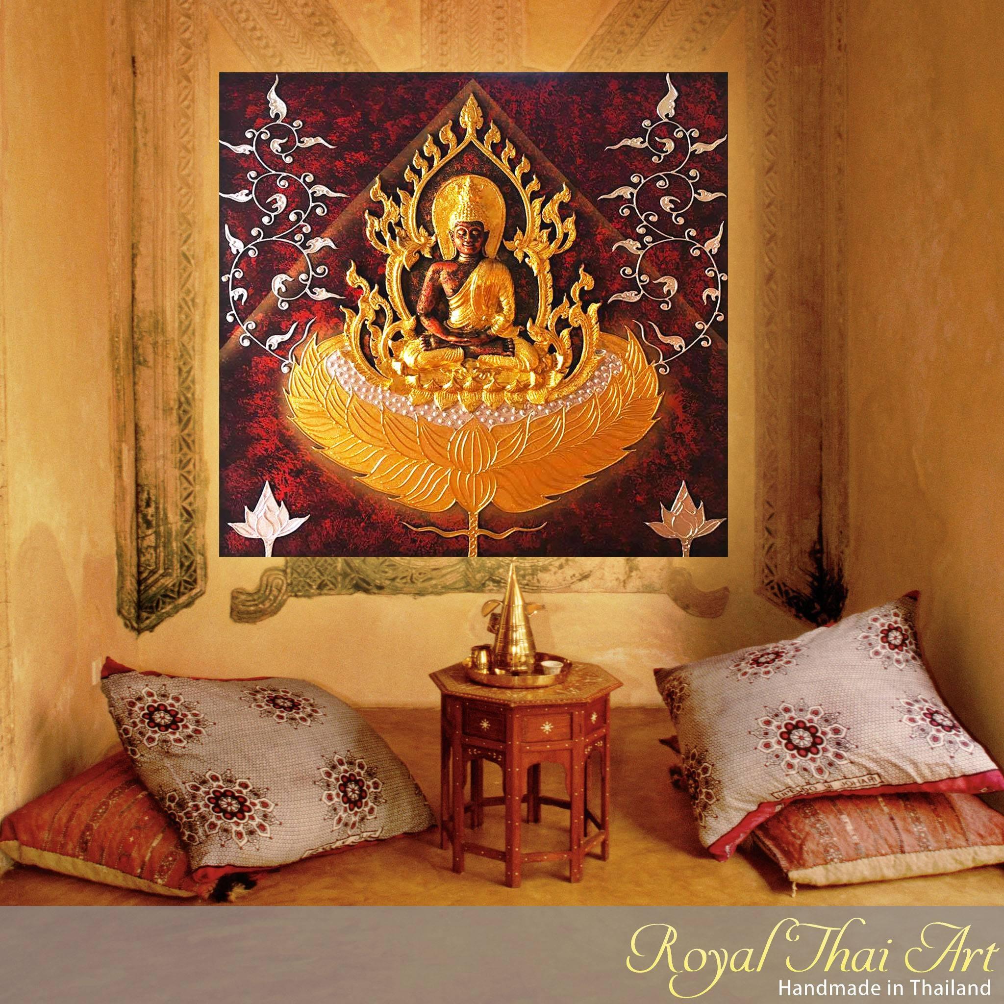 Buddha Painting 3D Handmade Gold Statue | Royal Thai Art Regarding Most Current 3D Buddha Wall Art (View 7 of 20)