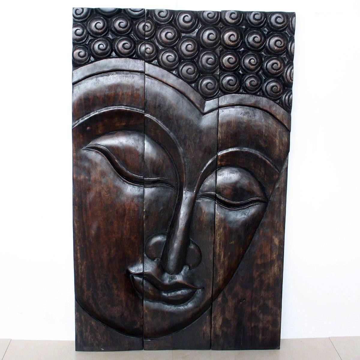 Buddha Serene Wall Decor|carved Wood Panel Agate Grey Mocha Walnut Intended For Recent Buddha Wooden Wall Art (View 6 of 20)