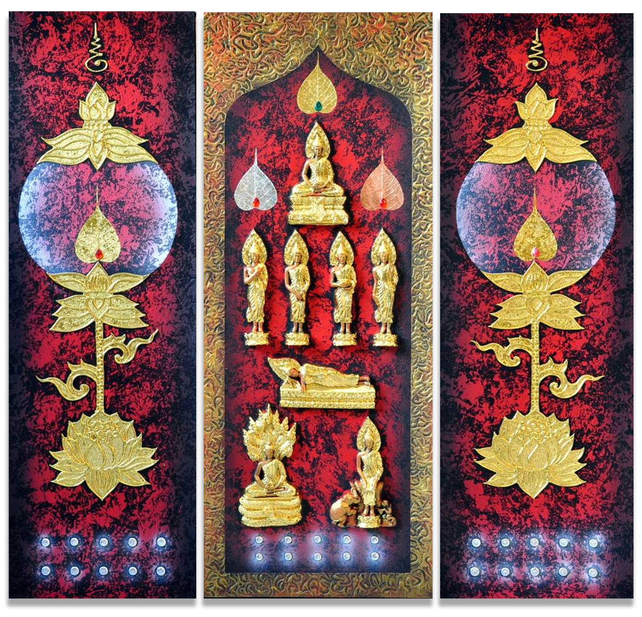 Buddhism Art 3D Seven Day Postures | Royal Thai Art In Most Up To Date 3D Buddha Wall Art (View 9 of 20)