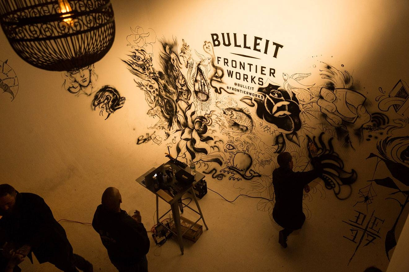 Bulleit Frontier Whiskey Creates Tattoo Art Installation In La Throughout Most Popular Tattoo Wall Art (View 7 of 20)