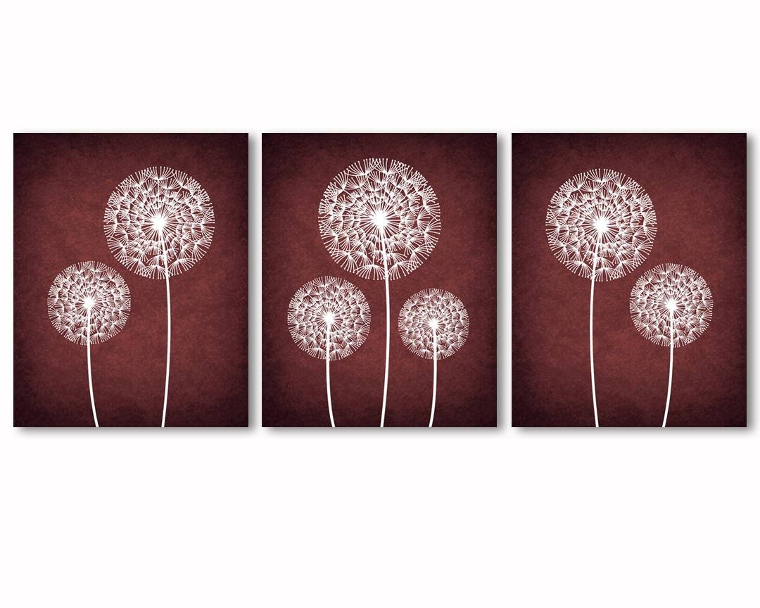 Burgundy Wall Art Dandelions Wall Art Burgundy And White Inside Most Current Burgundy Wall Art (View 4 of 15)