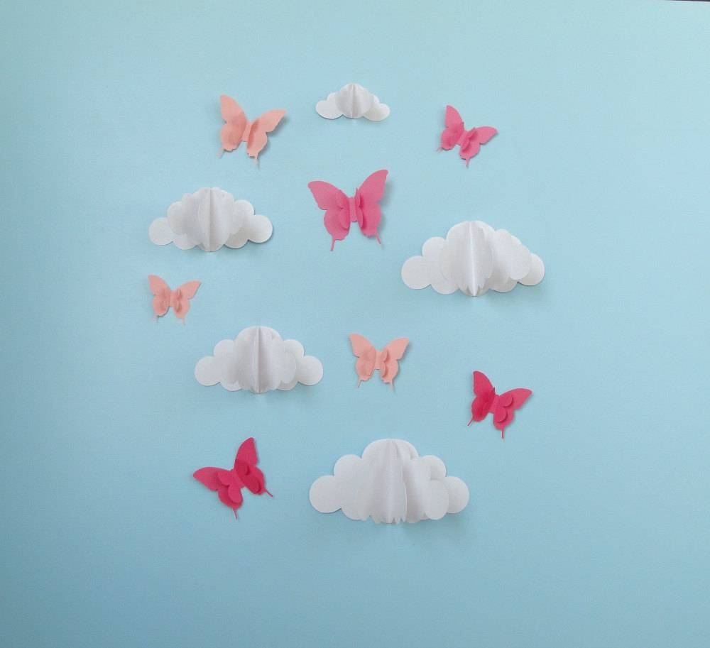 Butterflies And Clouds 3d Paper Wall Art/ Wall Decor/wall In Most Recently Released 3d Clouds Out Of Paper Wall Art (View 2 of 25)