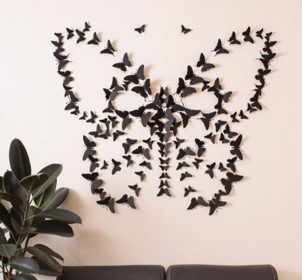 Butterflies Wall Decorations Black 3D Butterfly Wall Art No More Inside Most Recent 3D Butterfly Wall Art (View 8 of 20)