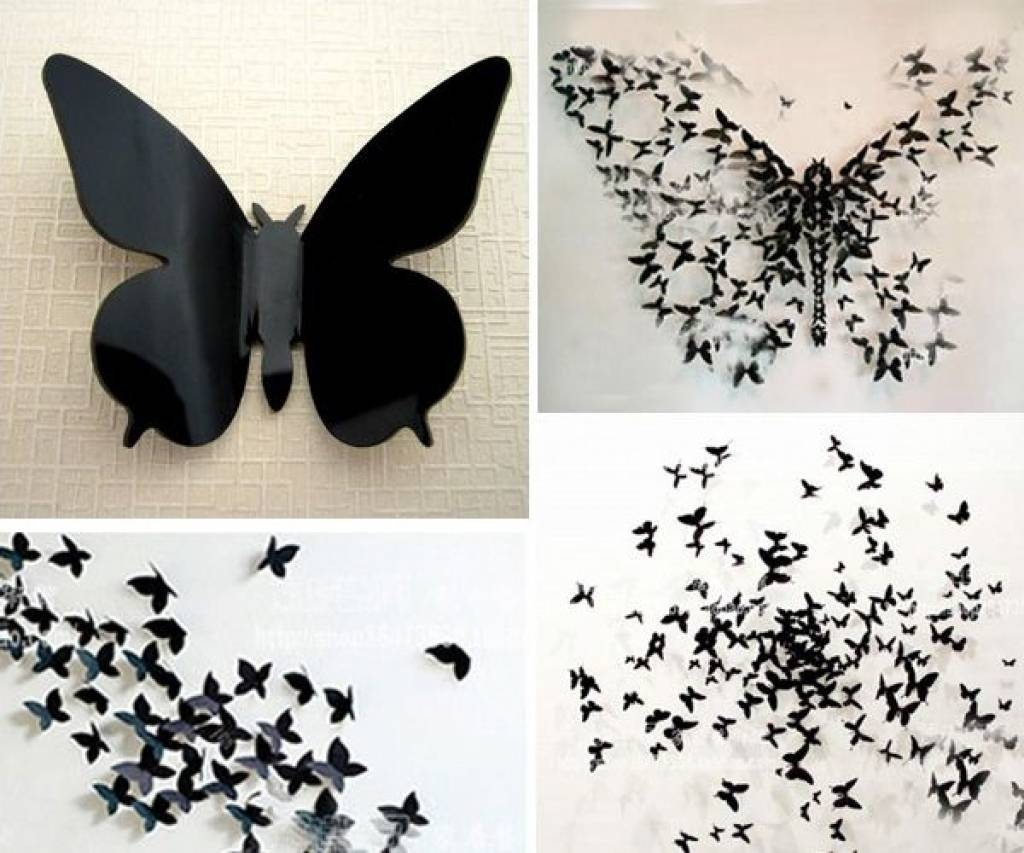 Butterflies Wall Decorations Gossip Girl Wall Art Black Butterfly Pertaining To Latest 3D Butterfly Wall Art (View 9 of 20)