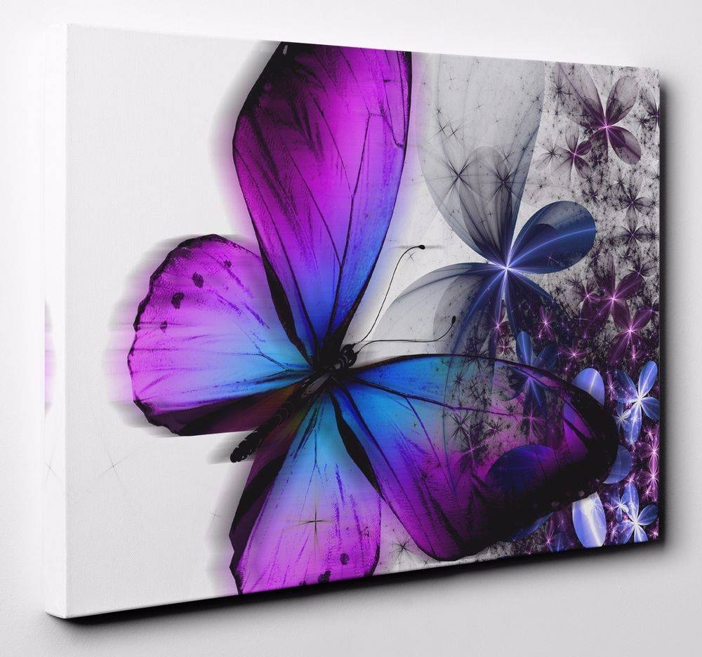 Butterfly Canvas | Ebay Throughout 2018 Butterfly Canvas Wall Art (Gallery 8 of 20)