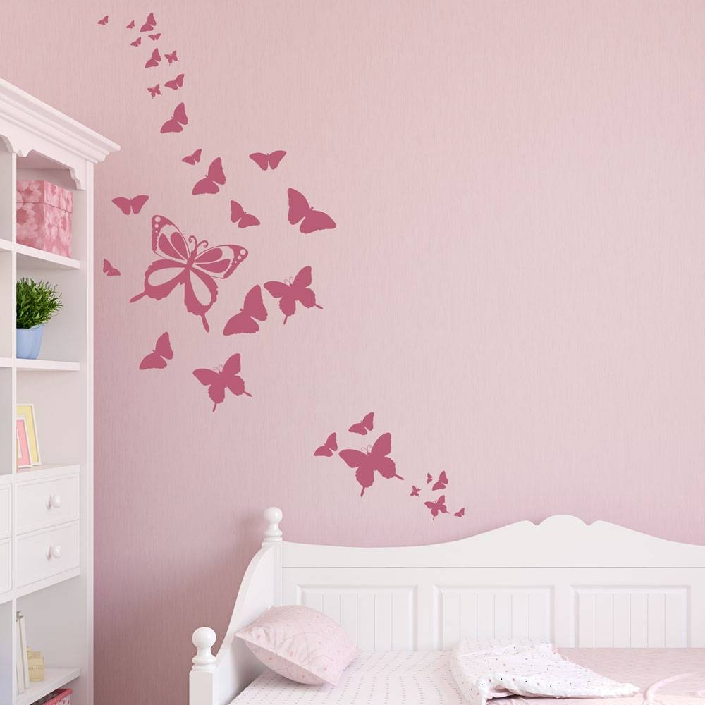 Butterfly Family Wall Decal Throughout 2018 Pink Butterfly Wall Art (View 7 of 20)